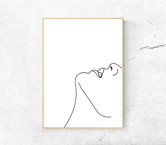 Photo of White abstract face, Body printable art, Minimalist print, Modern art, Line art, Home decor, Digital art, Woman illustration, Best selling