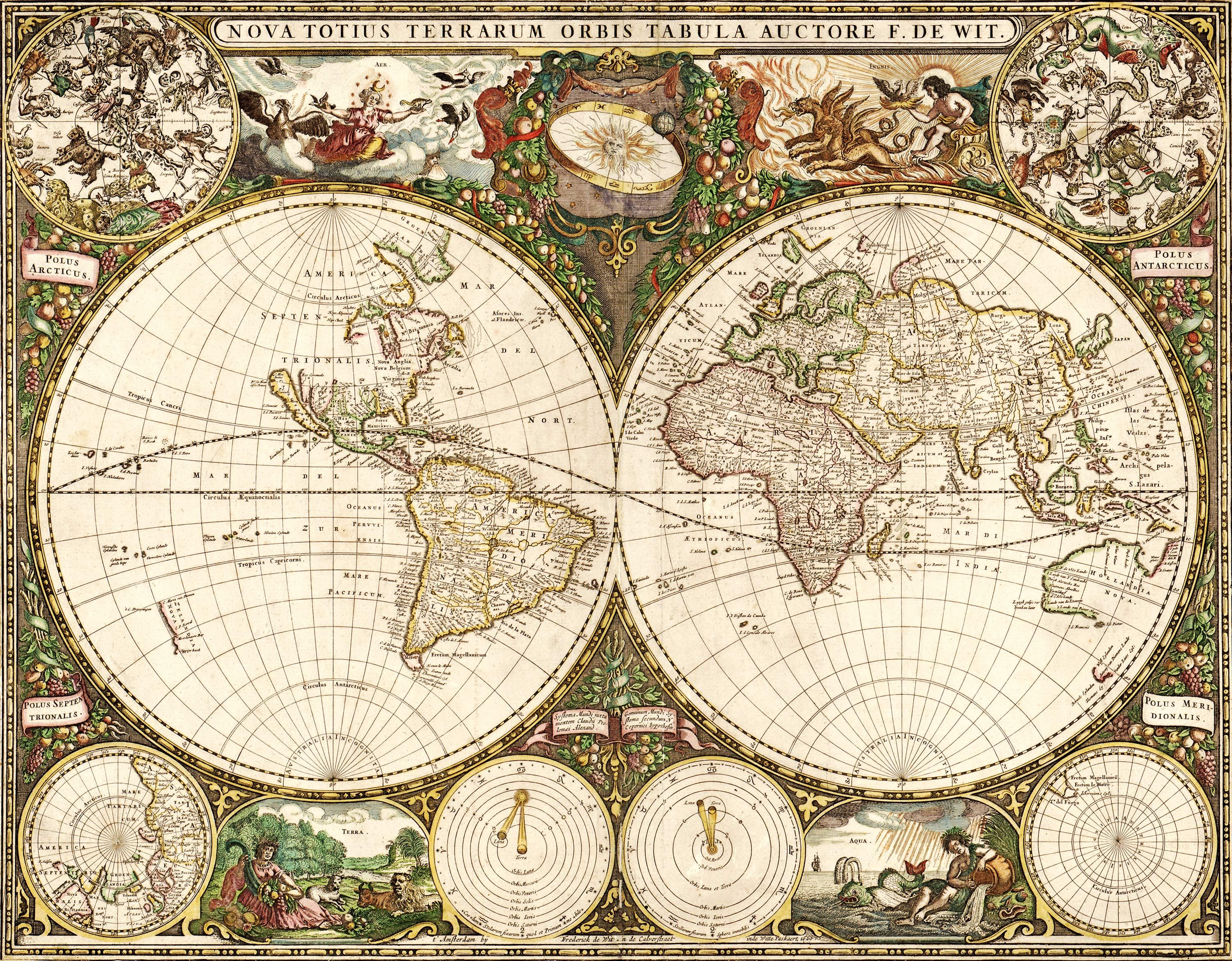 World 1660 wall map mural by frederick de wit on the for Antique world map wallpaper mural