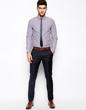 Asos Asos Smart Shirt In Long Sleeve With Gingham Check At Asos Mens Work Outfits Mens Fashion Suits Casual Mens Casual Outfits