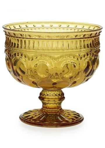 Small Amber Yellow Glass Centerpiece Compote Bowl Lart De La