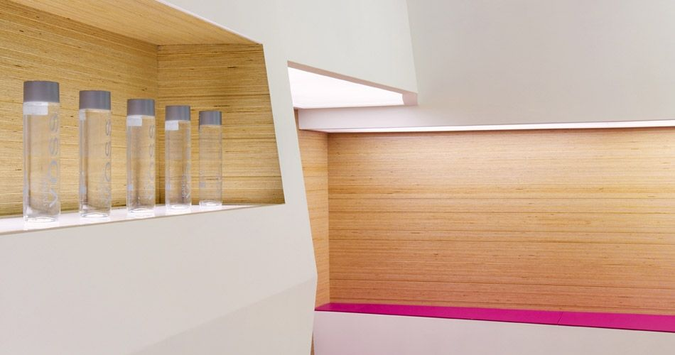 plexwood sosushi sushi restaurant design cool modern neon pink bright furniture and seating booth space birch plywood wall cladding point
