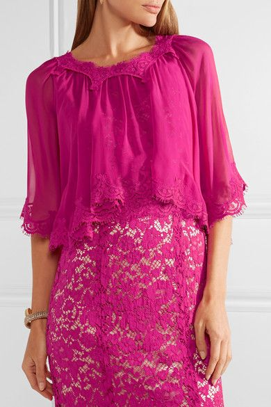 Cape-effect Chiffon And Corded Lace Gown - Magenta Dolce & Gabbana FpFbm