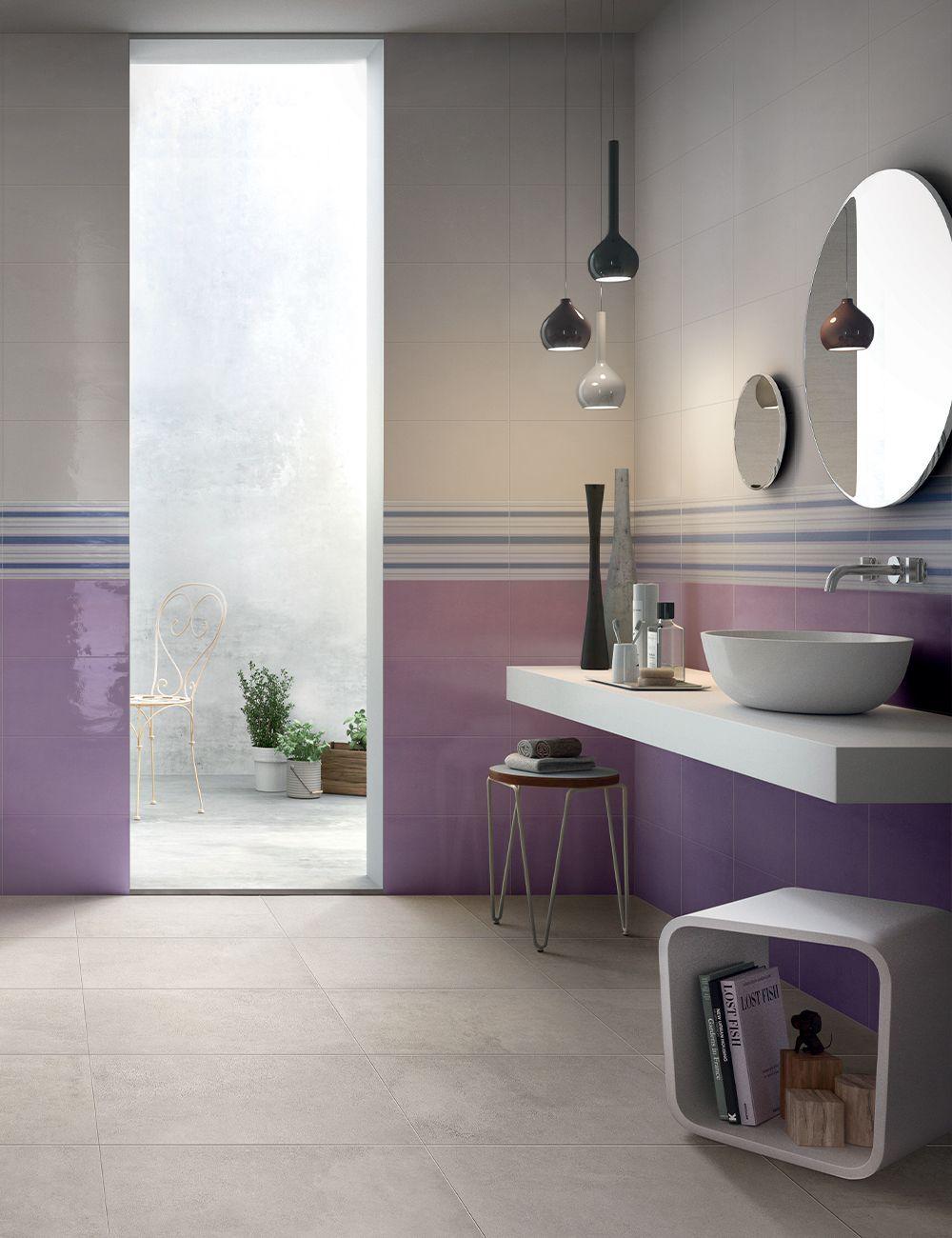Piastrella Easy Lilac 25x40 Lucido Lilla Nel 2020 Bagni Moderni