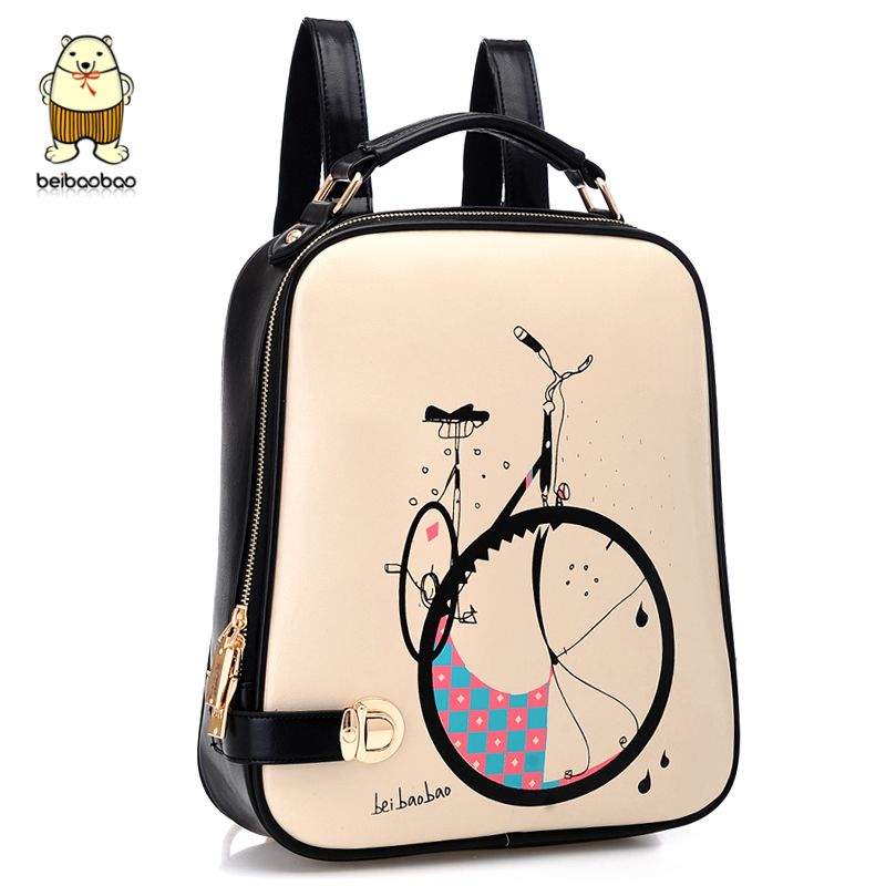 Christmas New preppy style print bicycle double shoulders korean ...