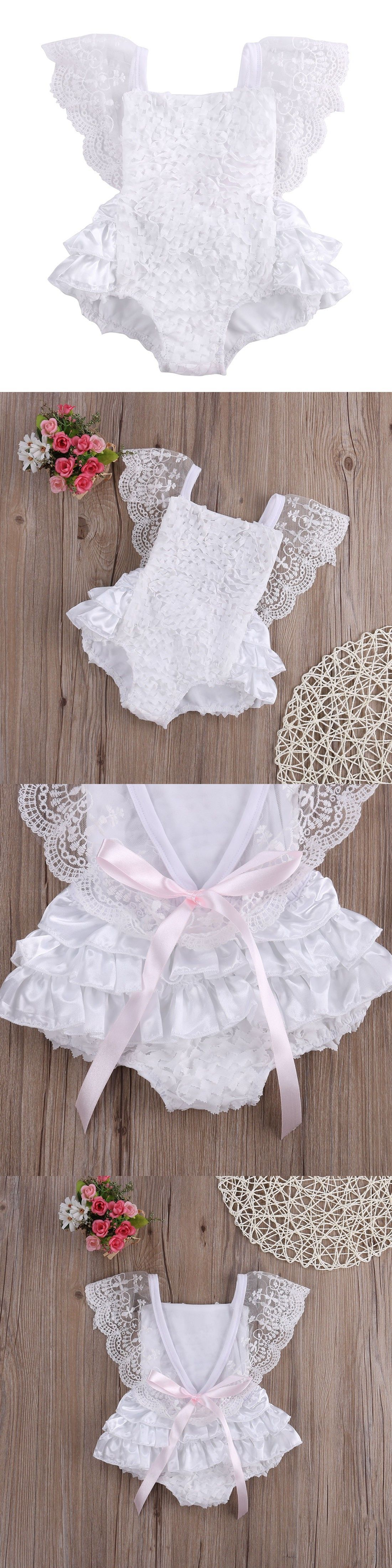Tirred Cotton Bow Cute White Rompers Infant Baby Girl Clothes Lace