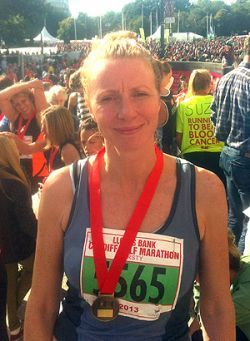Brian Minney and Kirsty Foster (pictured) were two of the 19,000 runners participating in the Cardiff Half Marathon – and their mission was ...