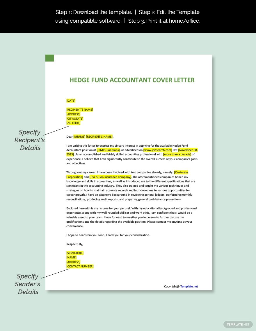 Free Hedge Fund Accountant Cover Letter Template Word Doc Apple Mac Pages Google Docs Letter Template Word Cover Letter Template Cover Letter Template Free