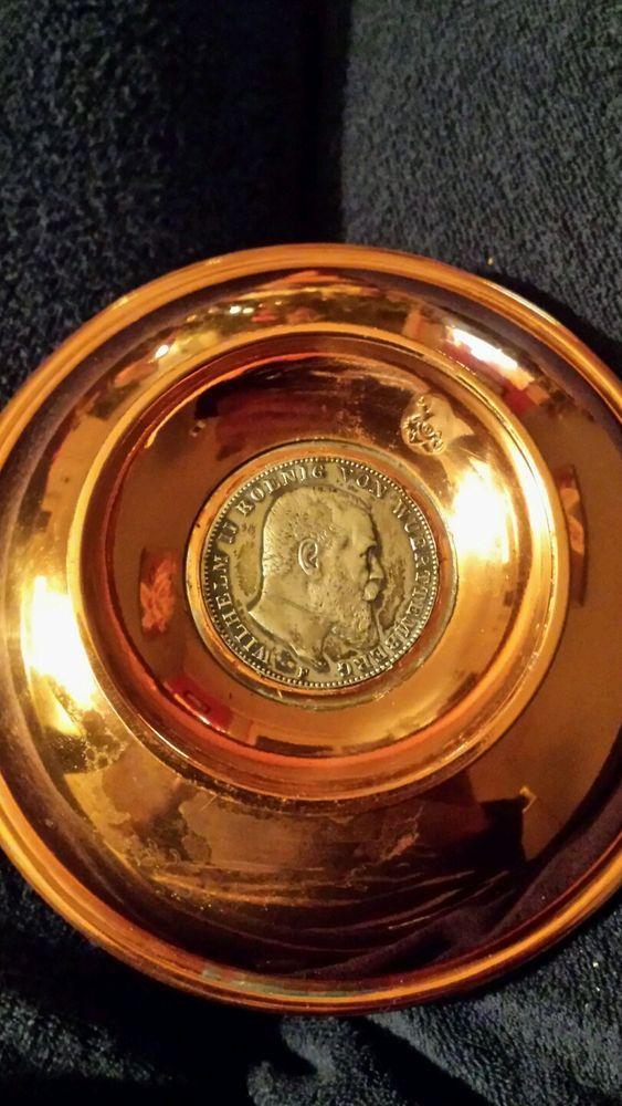 Antike Kupferschale Mit Münze Wilhelm 2 Koenig Von Wuerttenberg Jahr