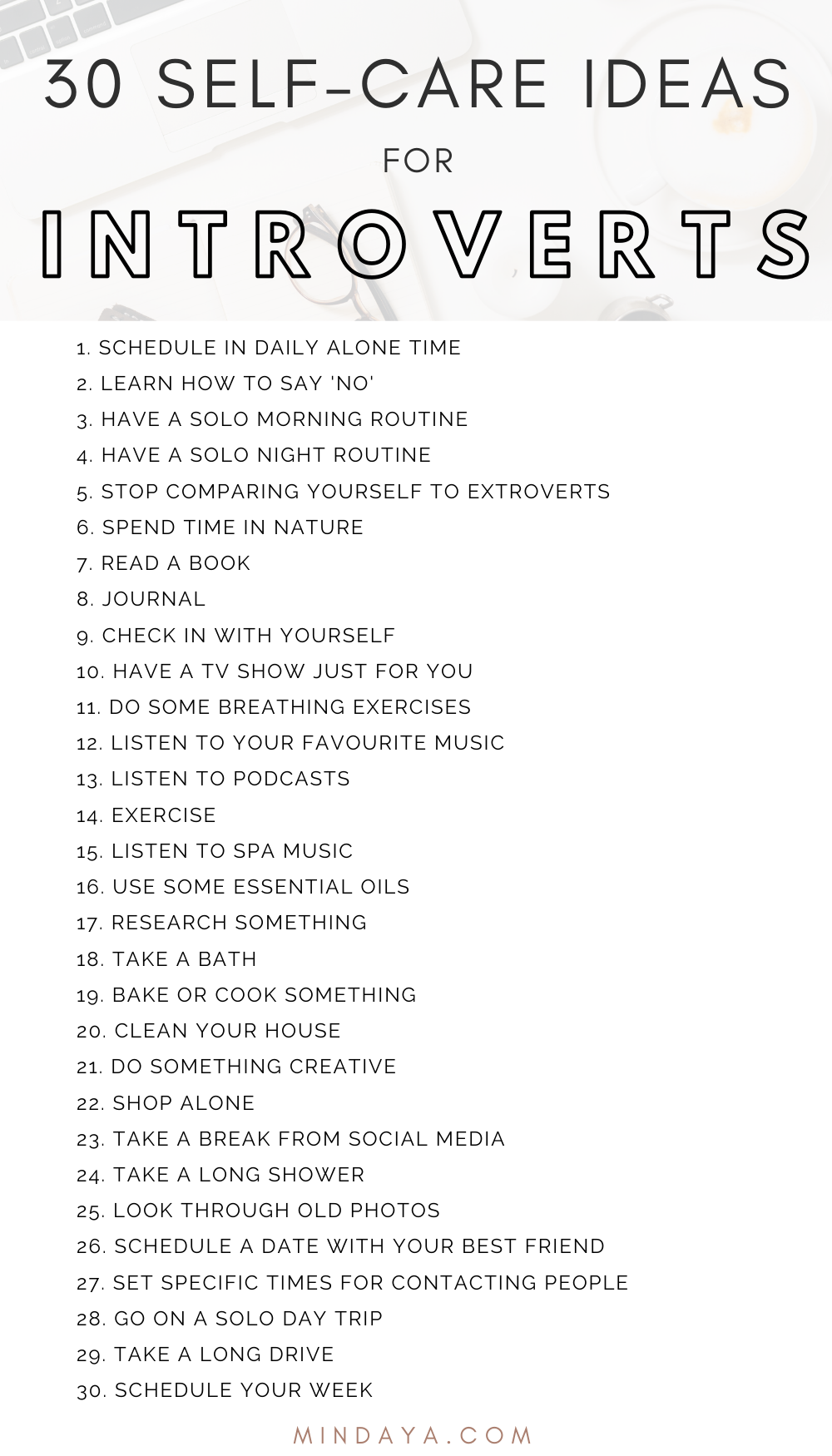 The Ultimate List of Self-Care for Introverts | Mindaya