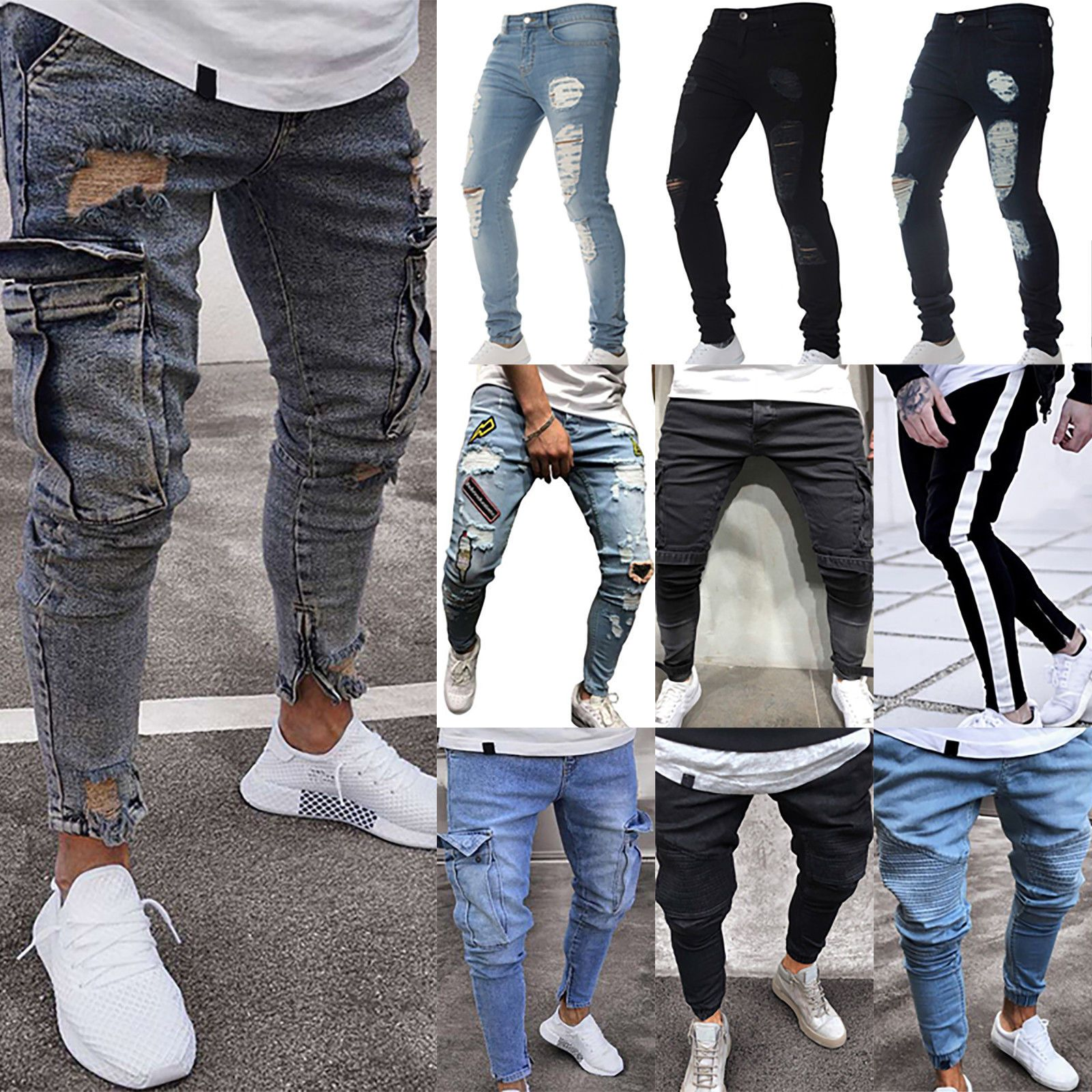 Pants S Xl Men Ripped Biker Skinny Jeans Frayed Destroyed Trousers Casual