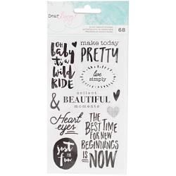 American Crafts - Dear Lizzy Saturday - Accents & Phrases Black Foil Stickers - 376269
