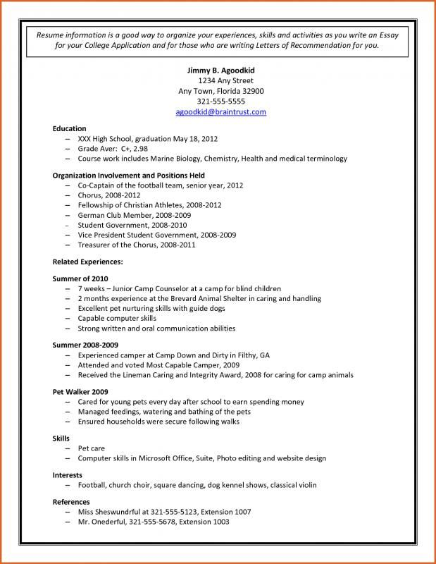 Sample College Applications College Resume Template College Application College Resume