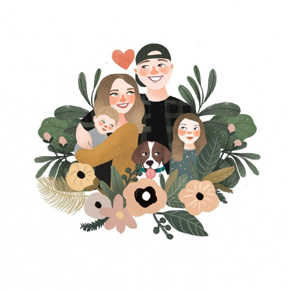 Couple Portrait, Couple illustration, Gift ideas, Custom portrait, Family portrait, Family illustration, Wedding gift