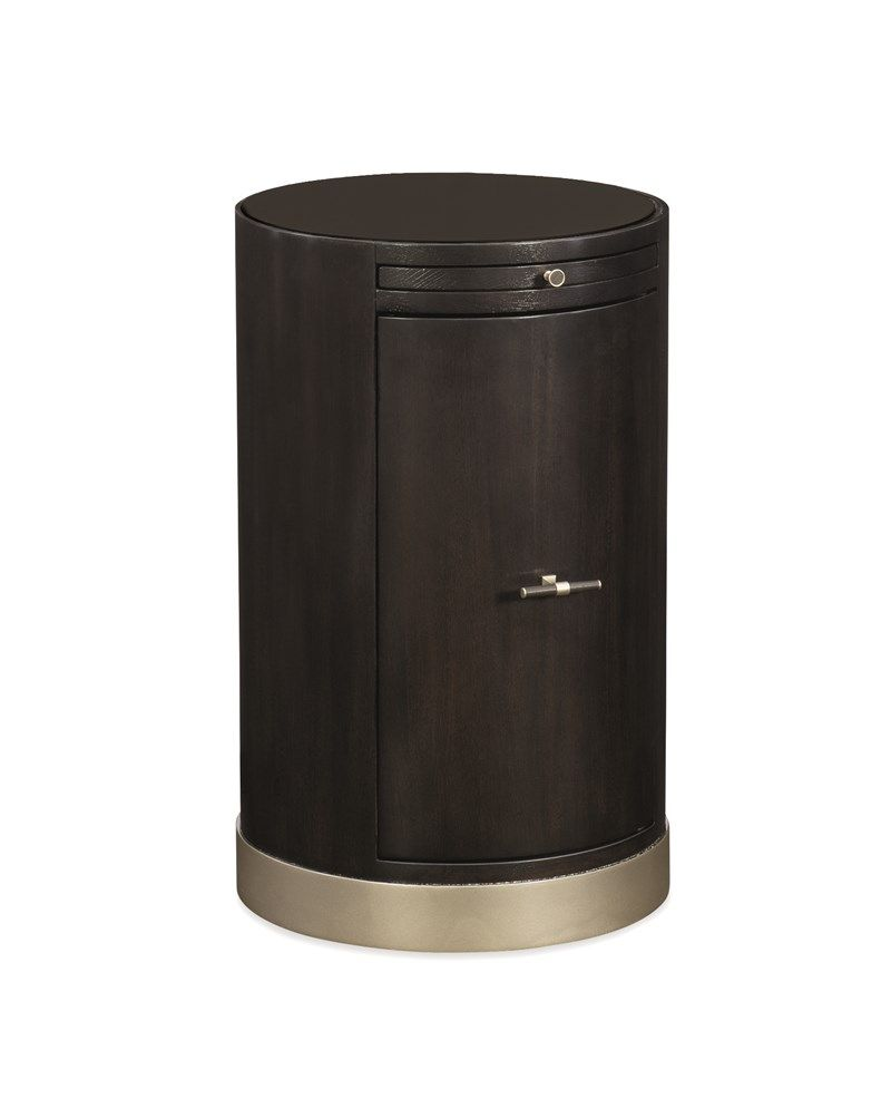 Loft End Table   This Perfectly Proportioned Barrel Shaped End Table Hides  A Pull
