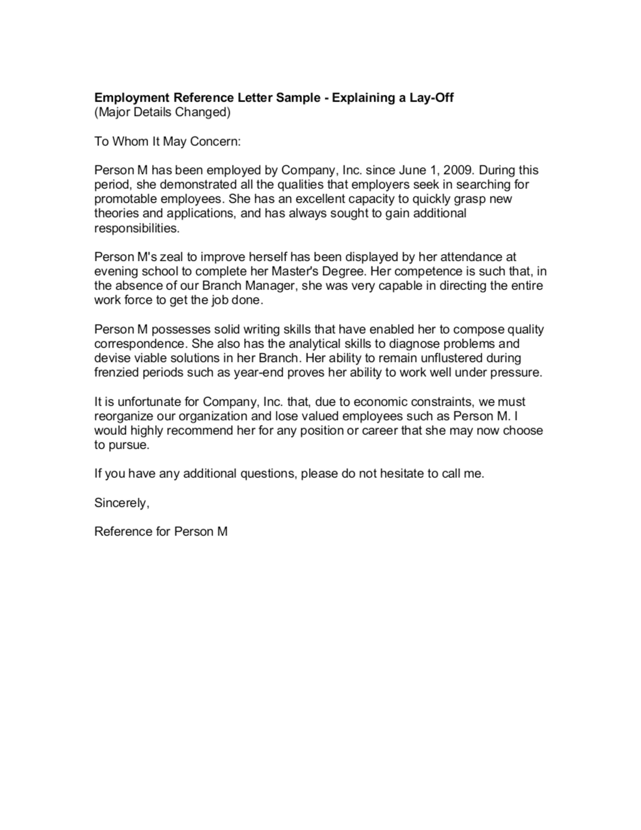 Employee Letter Samples Sample From