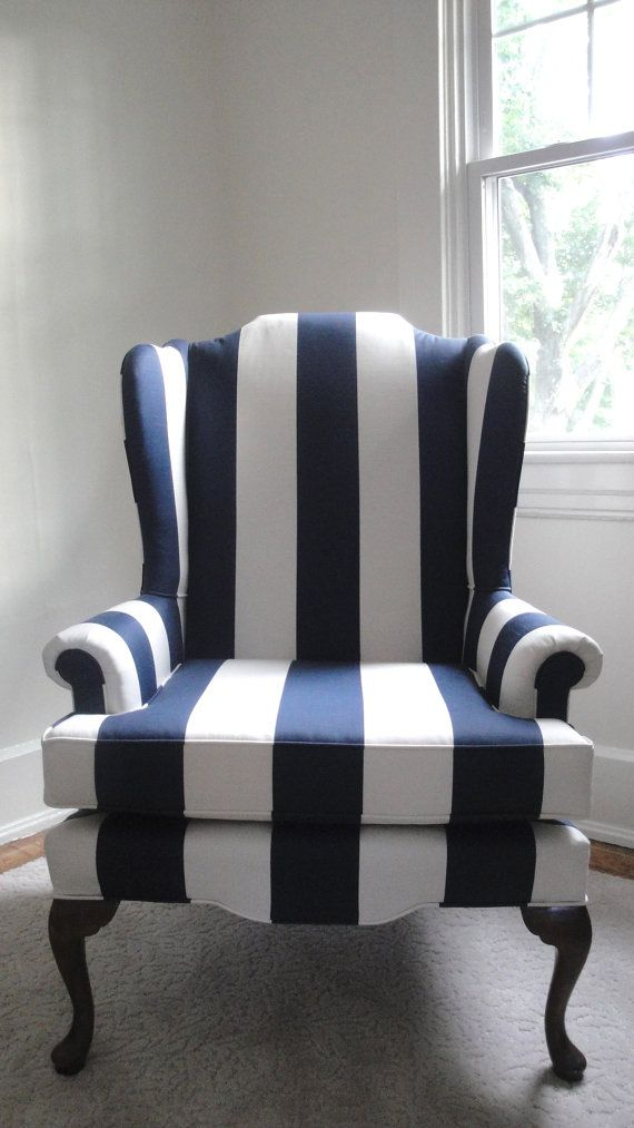 Best Striped Navy Chair Slipcovers For Chairs Wingback Chair 400 x 300