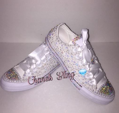 c790064a073b Bedazzled bling all star chuck taylors converse. White on white converse
