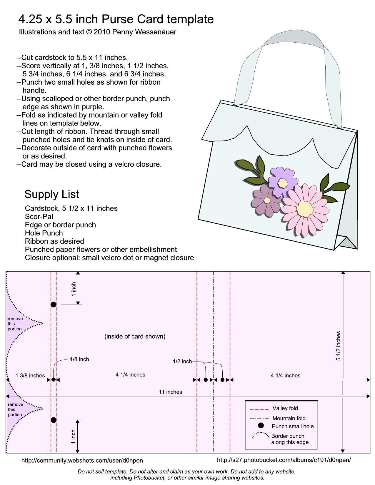 The Interesting Purse Card Template Size A2 4 25 X 5 5 Templates In A2 Card Template Images Below Card Making Templates Handbag Card Step Cards