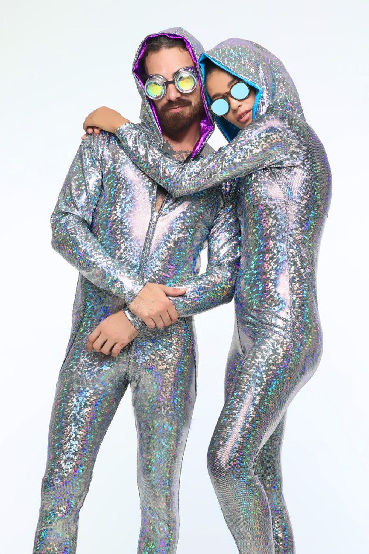 Men Shiny Bodysuits Closed Toe Stretchy Leotard Jumpsuits Nightclub Party Wear