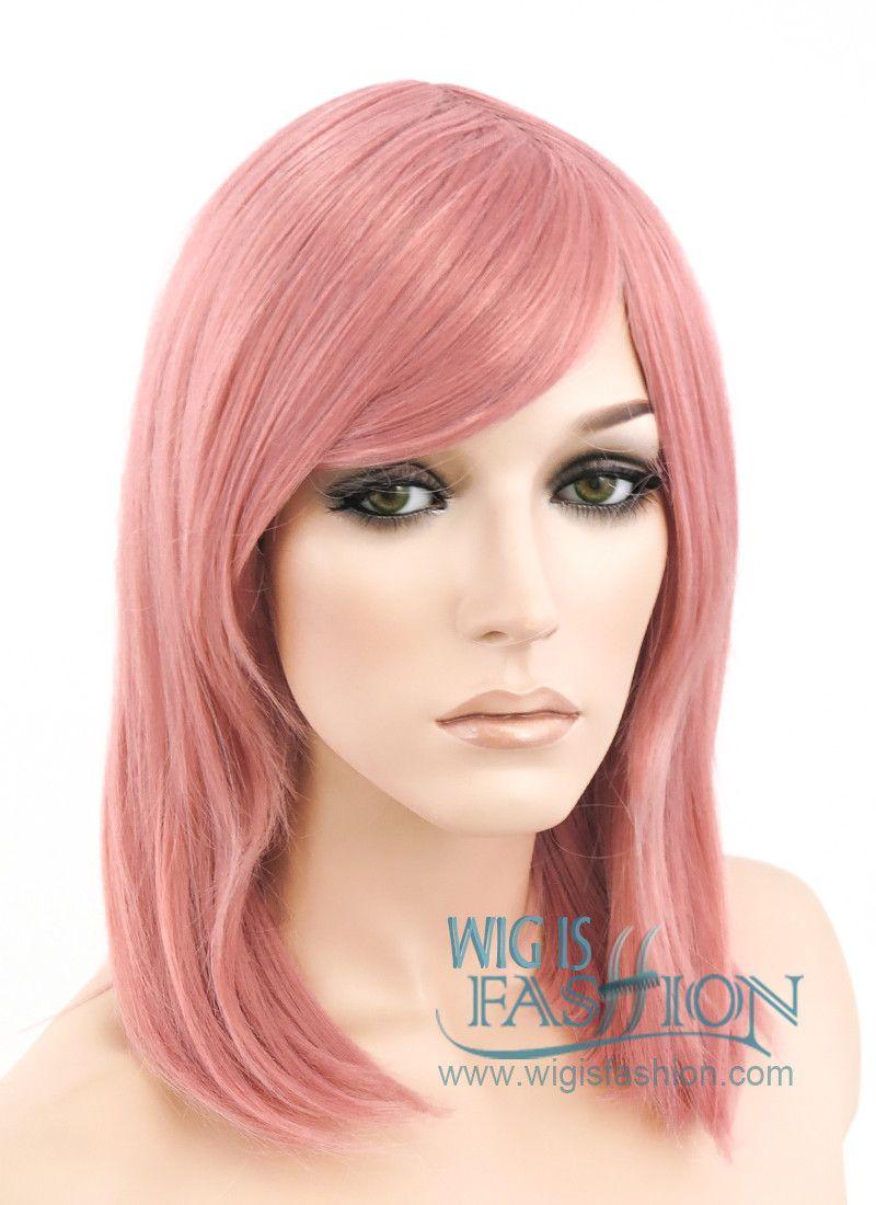 "16"" Medium Wavy Milkshake Pink Pastel Fashion Synthetic Hair Wig TBZ92"