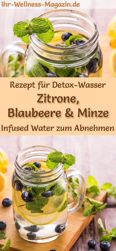 Zitronen-Blaubeer-Minze-Wasser - Rezept für Infused Water - Detox-Wasser #mintdrink