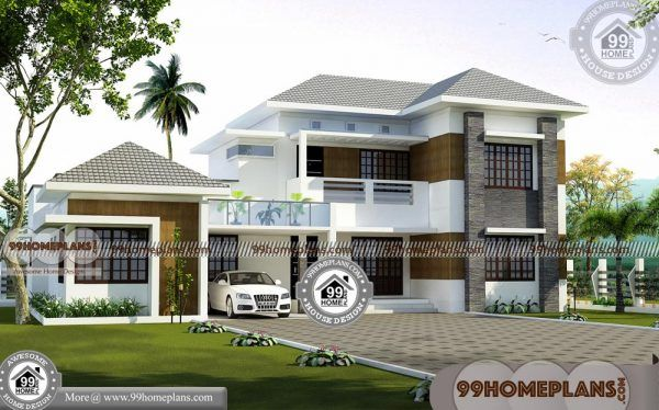 Double Storey 5 Bedroom House Plans & 3D Elevations
