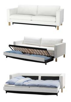 The KARLSTAD sofa bed has a storage space under the seat for
