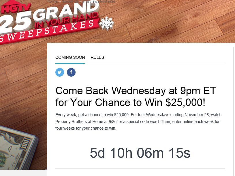 Enter The Hgtv 25 Grand In Your Hand Sweepstakes For A Chance To Win 1 Of 4 25 000 Checks Sweepstakes Hgtv Grands