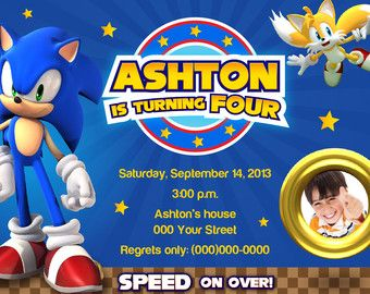 SONIC THE HEDGEHOG Printable Invitation with photo SONIC Pinterest
