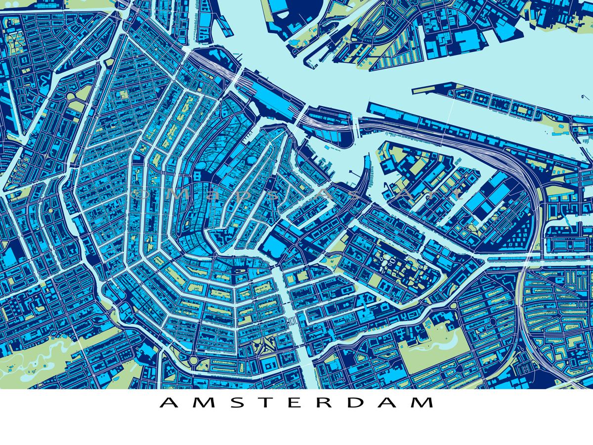 Amsterdam art print amsterdam map the netherlands holland amsterdam art print amsterdam map the netherlands holland blueprint malvernweather Gallery
