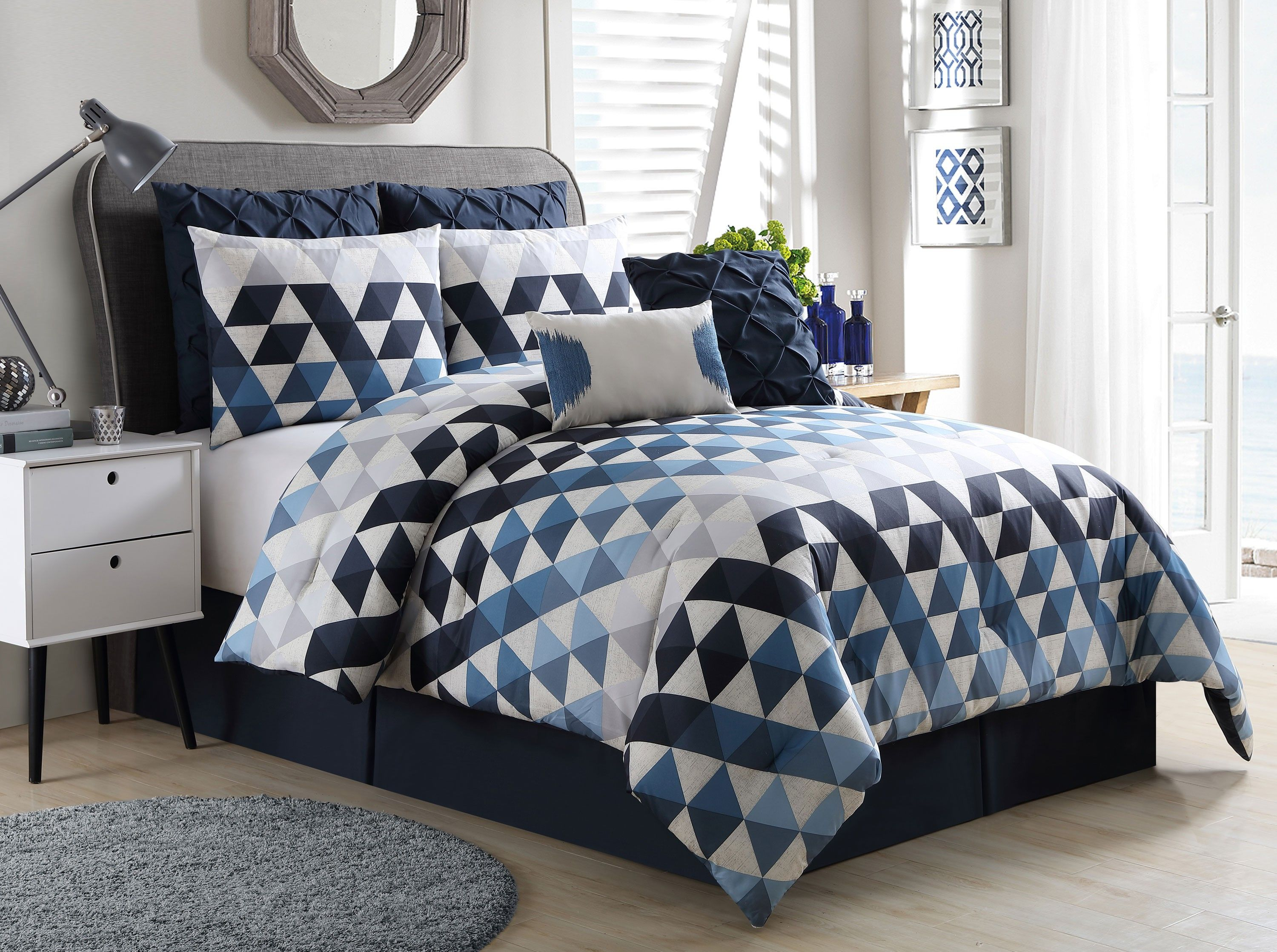 Vcny Onyx King Oversized Comforter 8 Piece Bedding Set Navy Blue Geometric Geometric Bedding Bed Linens Luxury Bed