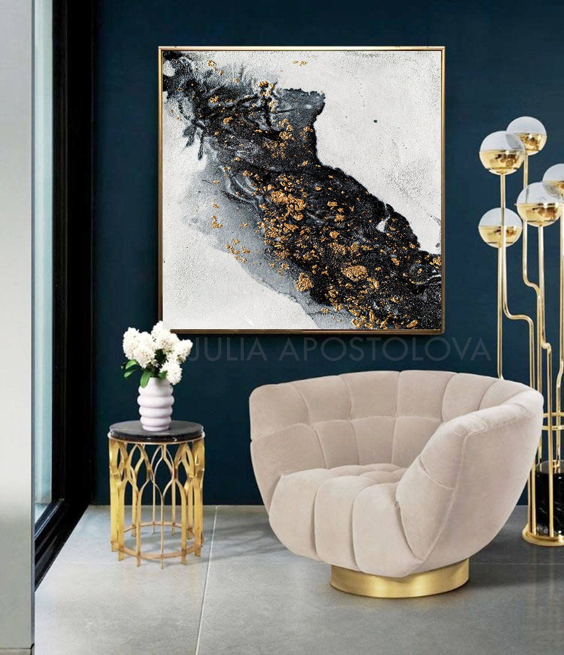 White Black And Gold Abstract Painting Canvas Print Large Wall