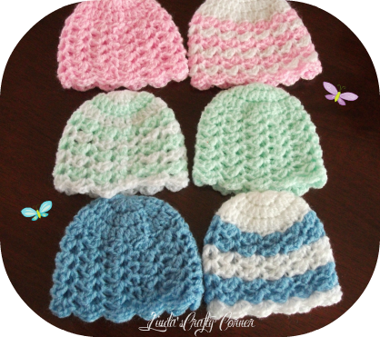 Crochet baby beaniefrom lindas crafty corner lisha baby hat this a simple crochet baby hat in preemie and new born sizes beginning with the same basic crown pattern which i first made for the pomp dt1010fo