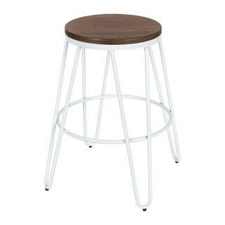 Surprising Carbon Loft Hall Backless Two Tone Wood And Metal Bar Stools Dailytribune Chair Design For Home Dailytribuneorg