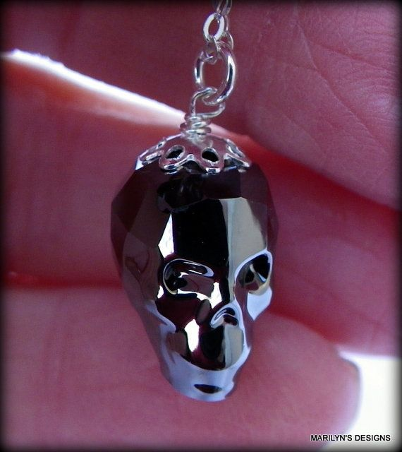 Silvery night skull necklace swarovski by designedbymarilyn all silvery night skull necklace swarovski by designedbymarilyn mozeypictures Images