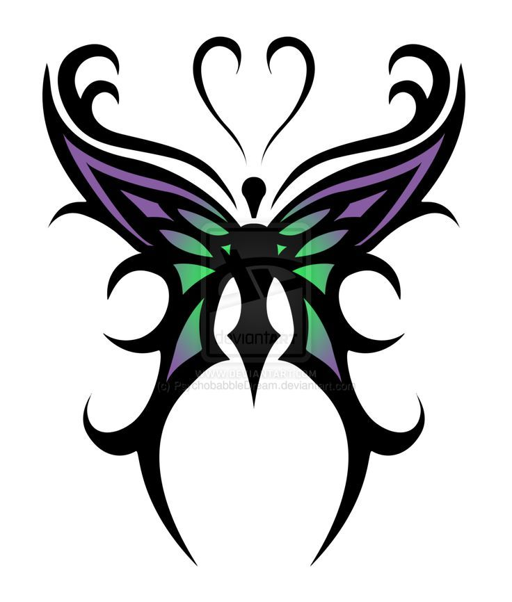 Butterfly tattoo designs cool purple green tribal for Cool drawings of butterflies