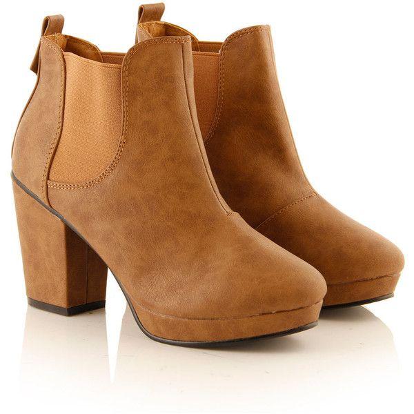 Tan Block Heel Chelsea Boot ($34) ❤ liked on Polyvore