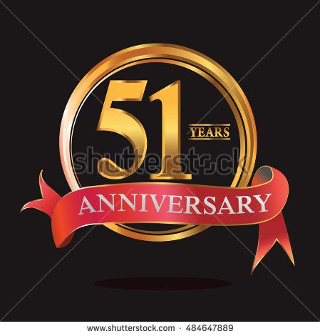 51 Years Golden Anniversary Logo With Ring And Soft Red Ribbon