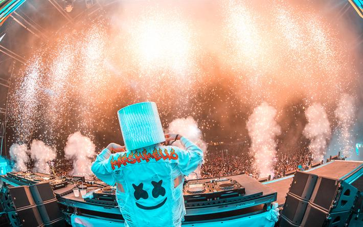تحميل خلفيات DJ, Marshmello, حزب ليلة, النجوم, حزب الرقص, DJ Marshmello