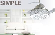 Modern stealth ceiling chandelier fan 42inch LED fan lights restaurant ceiling chandelier fan with remote control living room(China (Mainland))