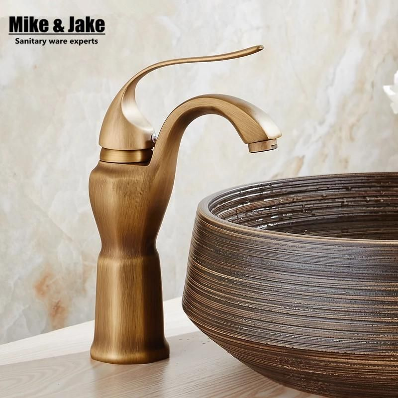 Whole brass antique brass basin faucet art basin bathroom faucet ...