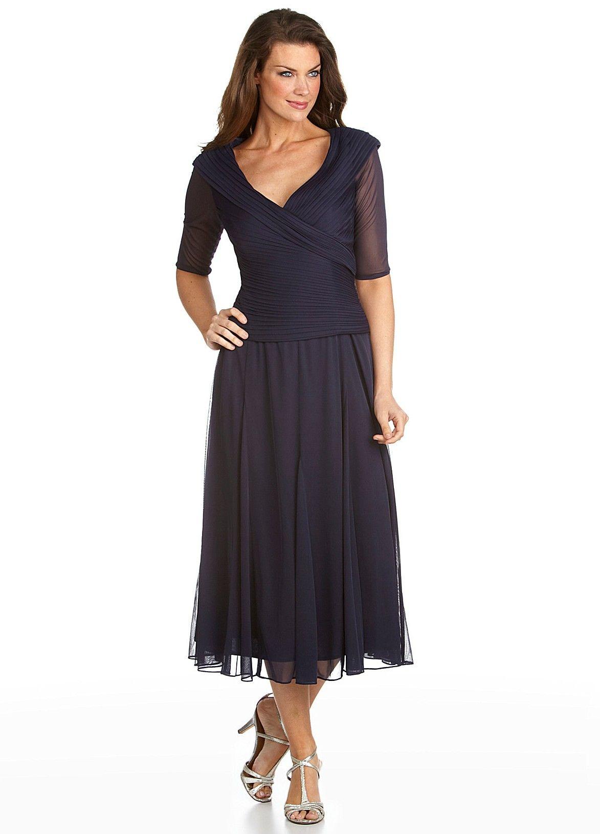 Wedding dresses tea length  Alex Evenings  Mesh Portrait Tea Length Dress  Pretty dress