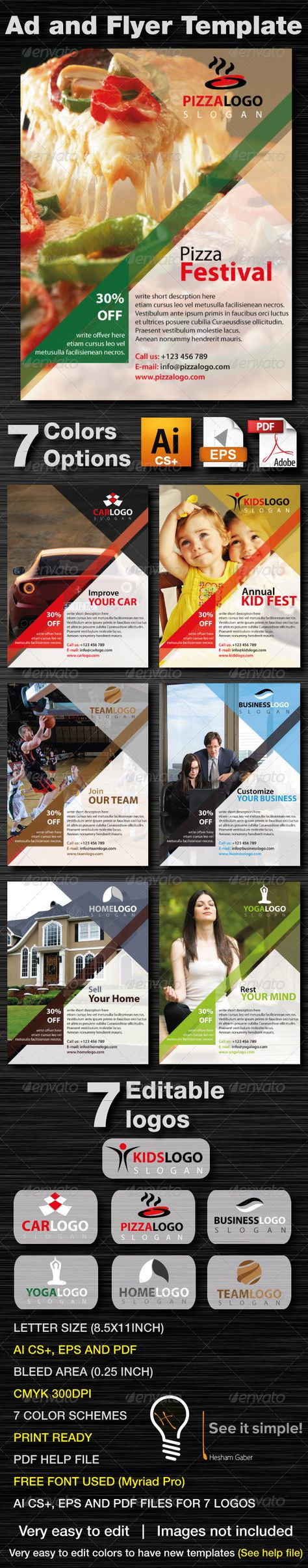 Ad And Business Flyer Template With 7 Colors Page layout