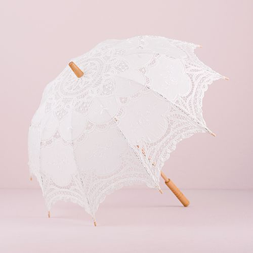White Battenburg Lace Parasol - Standard