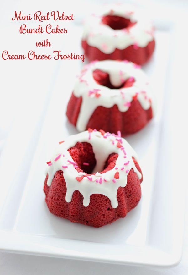 Mini Red Velvet Bundt Cakes With Cream Cheese Frosting Recipe Red Velvet Bundt Cake Mini Bundt Cakes Desserts