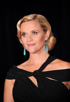 Reese Witherspoon Black Dress With Bold Green Turquoise Earrings Yellow Blouse