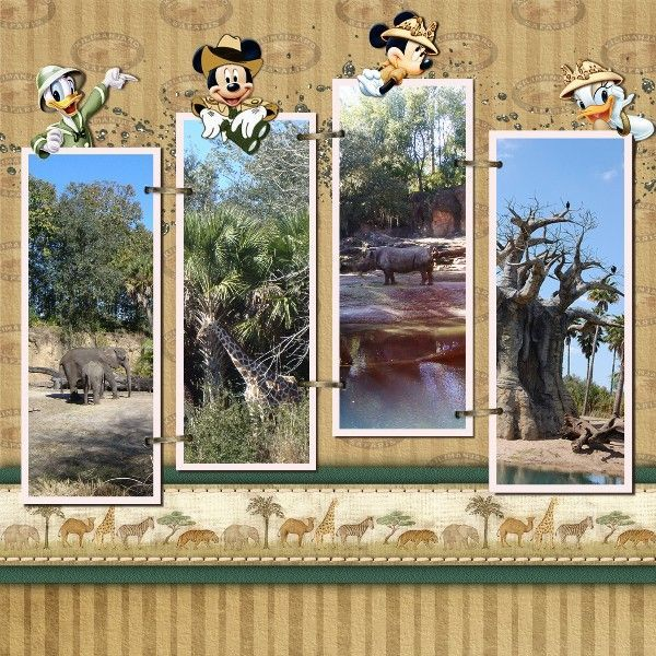 Kilimanjaro Safaris - I like the way that the characters are looking over the tops of the photos on this page | Disney Scrapbooks | Disney Scrapbooking | Disney Scrapbooking Layouts | Disney Scrapbook Ideas | Disney Scrapbooking Ideas |