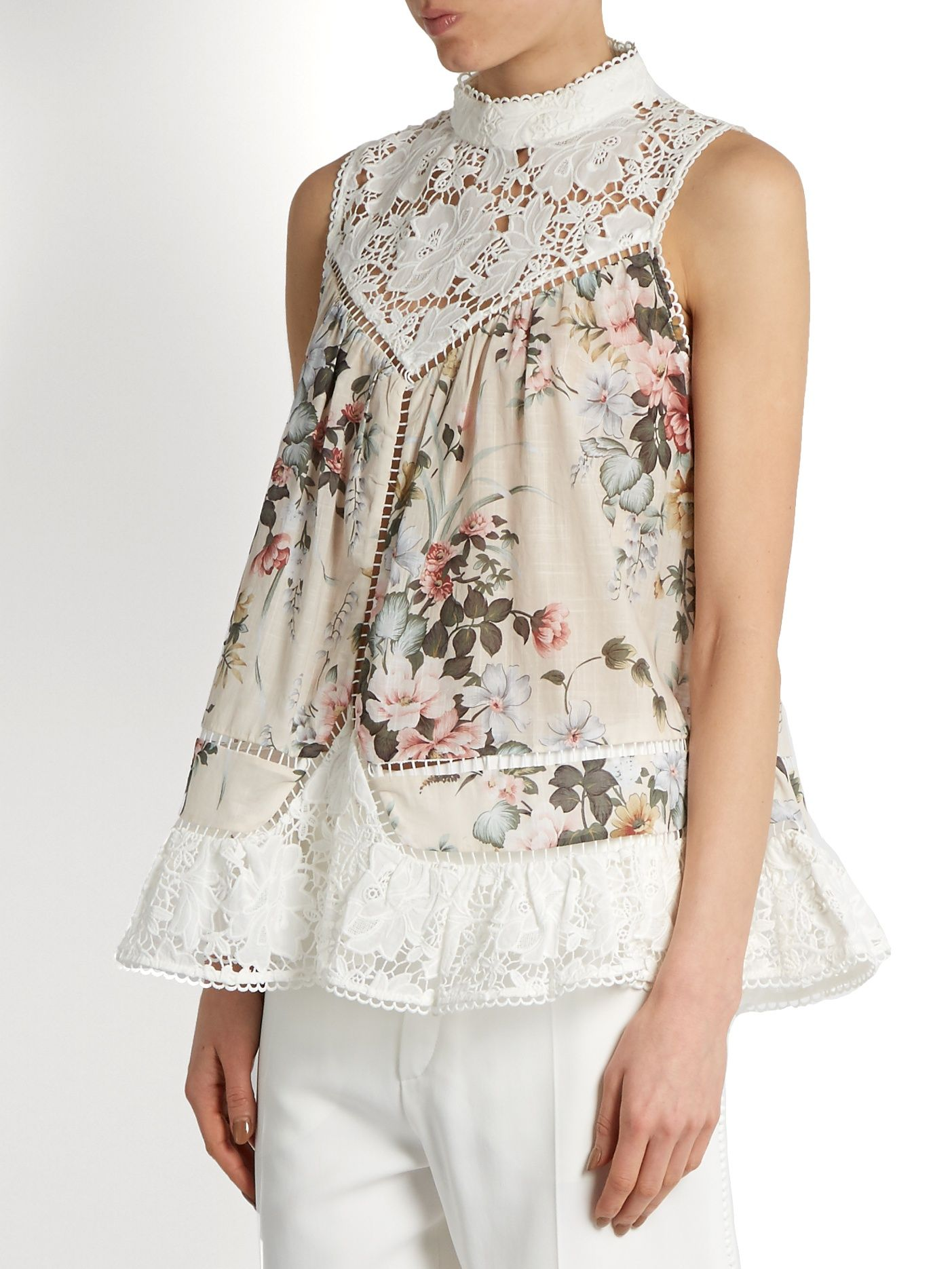 bfe896a55d905 Click here to buy Zimmermann Aerial Smock floral-print cotton top at  MATCHESFASHION.COM