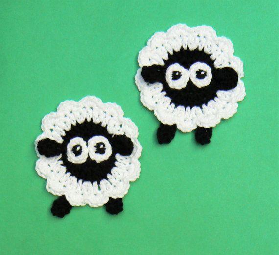 Schaf-Applikation, häkeln Schafe, Tier Applikationen, gehäkelte Applikation, schwarzen Kopf Schafe, lustige Applikationen, Kinder Kleidung, Bastelbedarf, Lamm #crochetelements