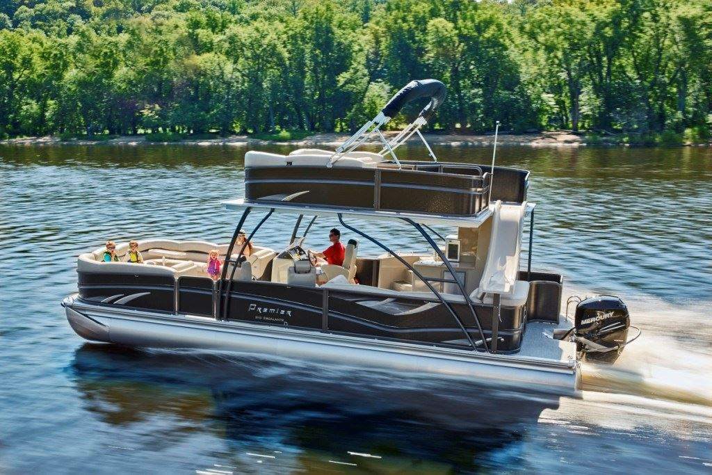 You Can T Miss Premier S New Two Story Escalante Pontoon Pontoon Deck Boat Magazine Pontoon Deck Boat Boat